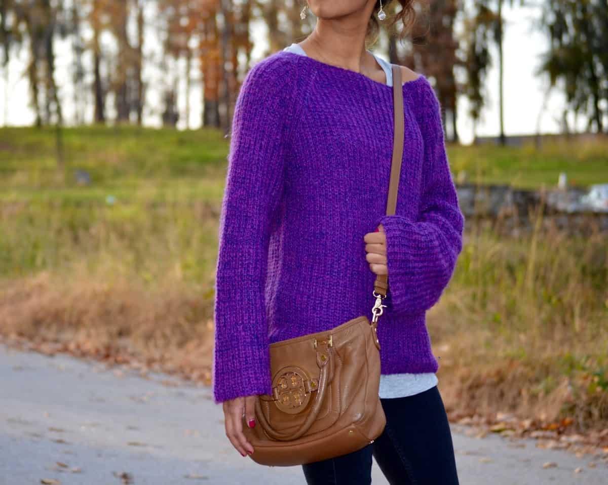 Oversized Purple Knit Sweater - An Unblurred Lady
