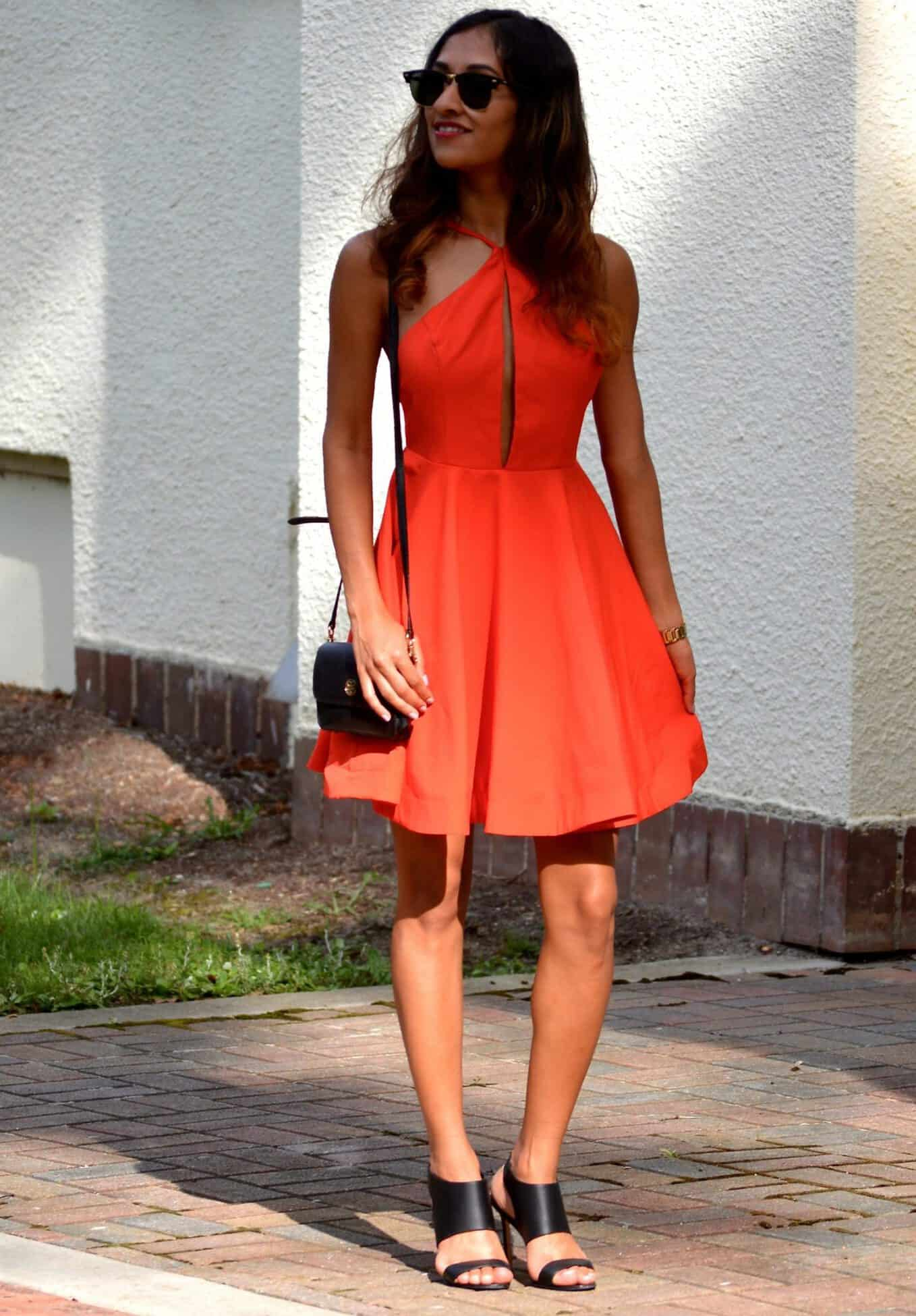 Black dress with red bag - Dress Nasty Gal Shoes Manolo Blahnik Similar Bag Tory Burch Watch Kate Spade Sunnies Ray Ban