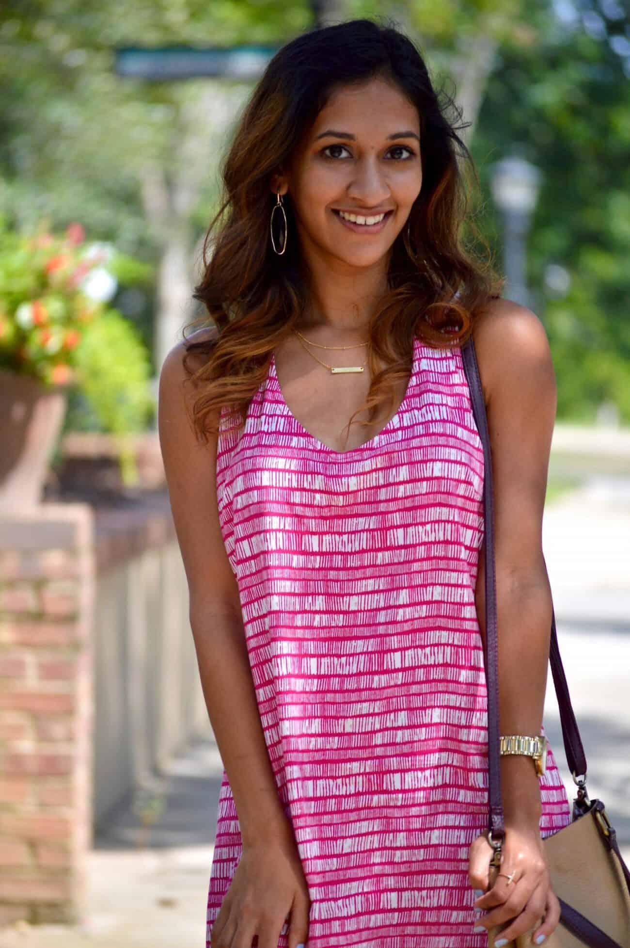 magenta print dress, pink