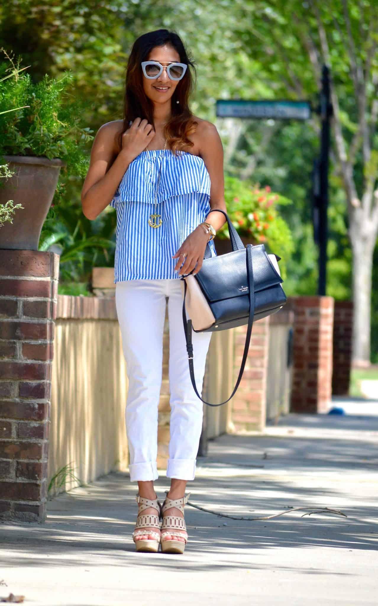 blue ruffles and white pants