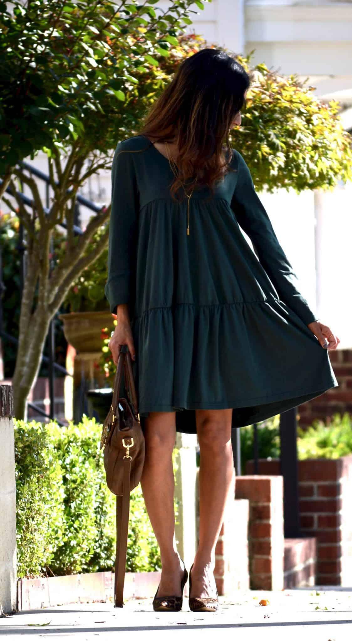 forest green dress