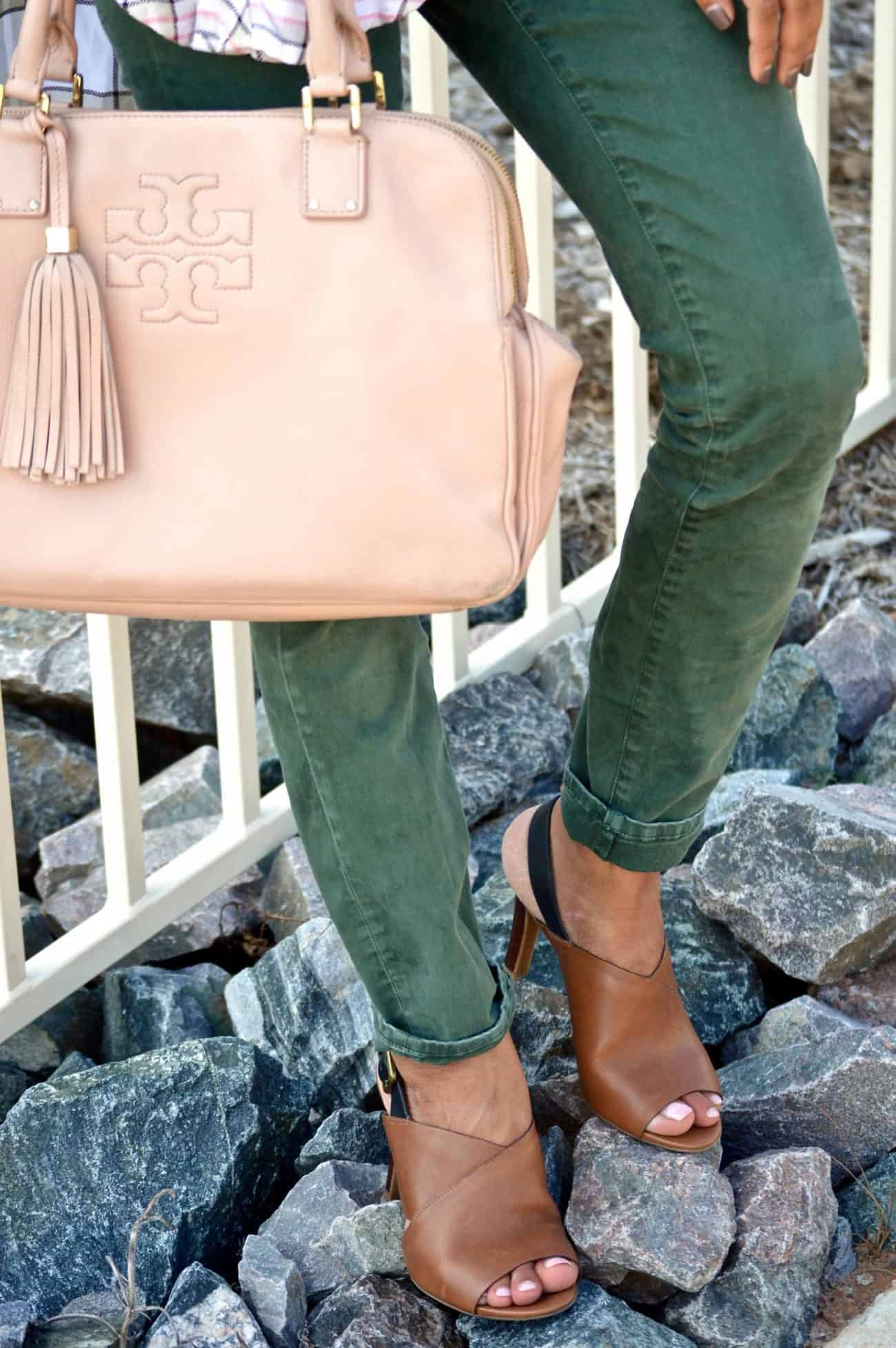 olive pants and tory burch