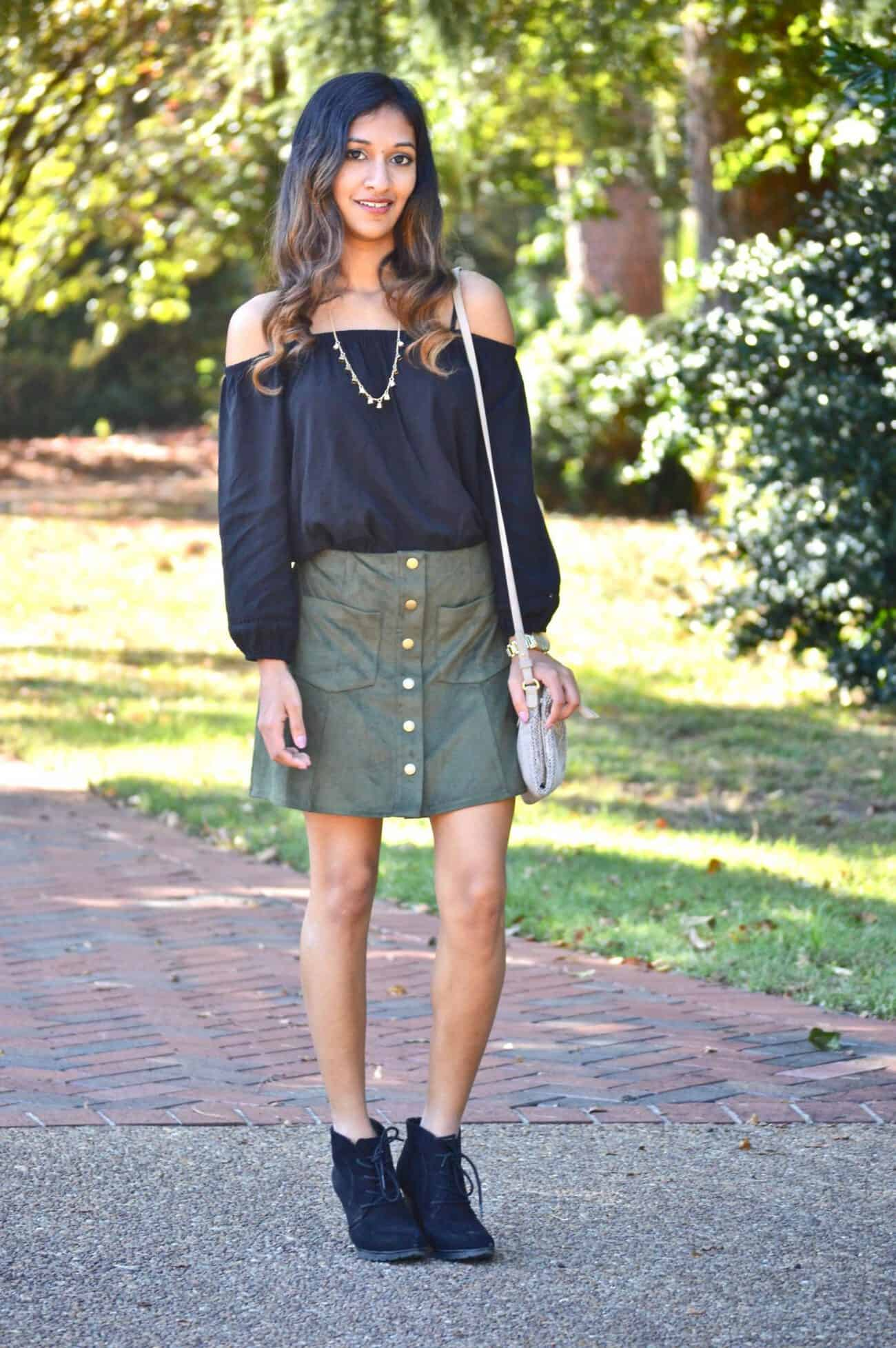 Forest Green Suede Skirt :: Retro Style - An Unblurred Lady
