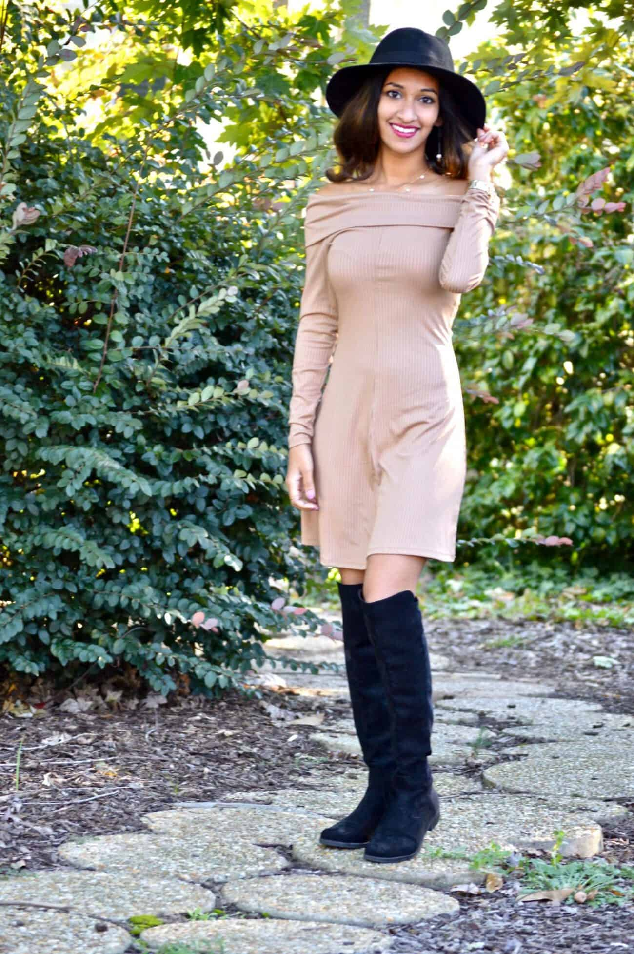 camel off shoulder dress