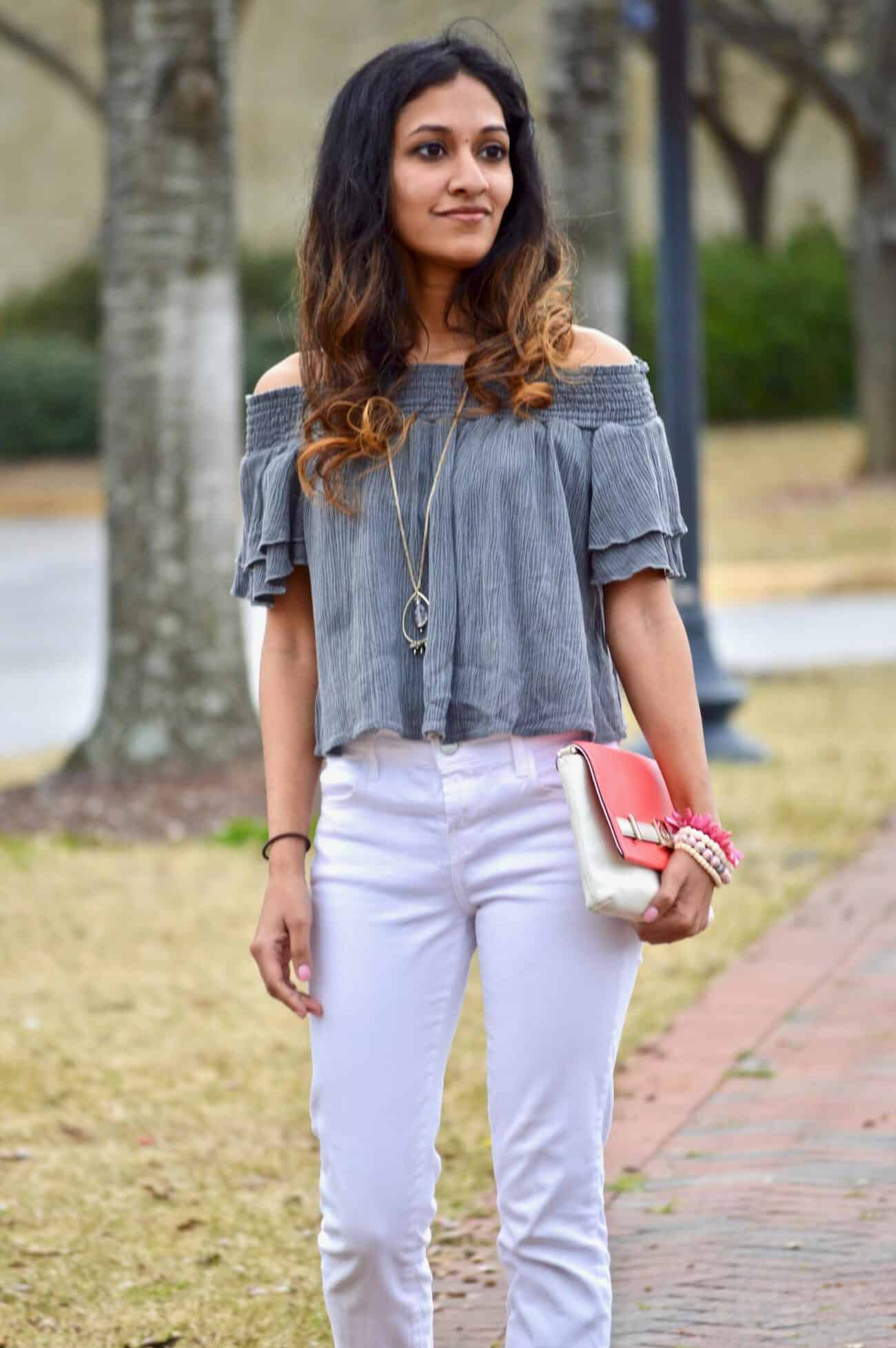 grey ruffled top