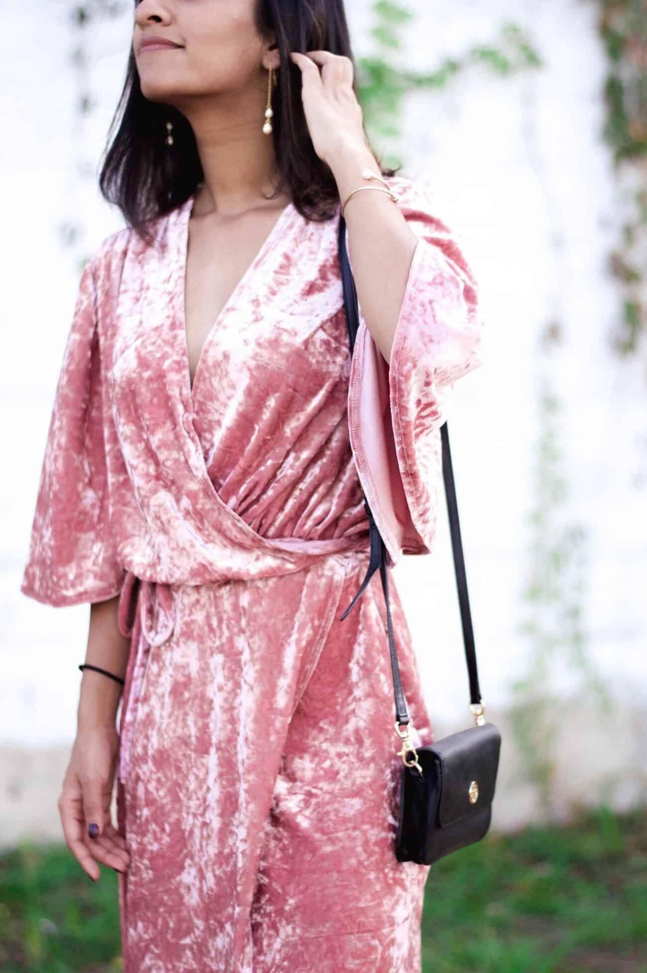 blush velvet dress