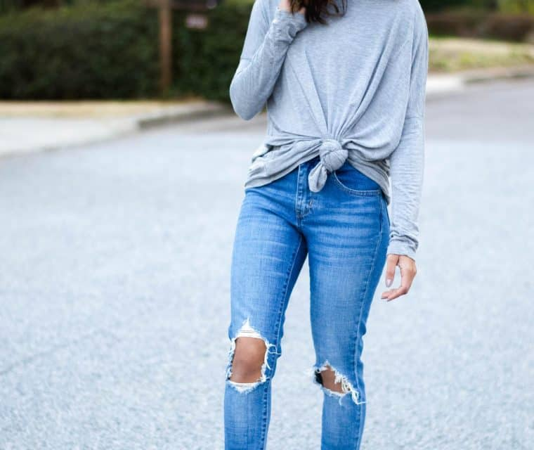 grey knotted tee
